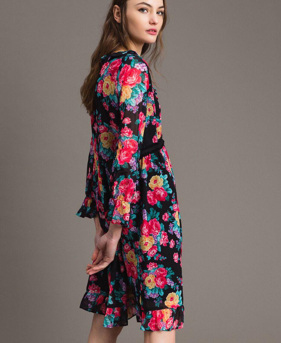 Georgette-Kleid mit Blumenmuster Motiv Schwarze Blumen Frau 191MP2331-02