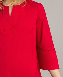 """Popeline-Kleid mit Stickerei """"Lipstick Red"""" Rot Frau 191TT2242-04"""