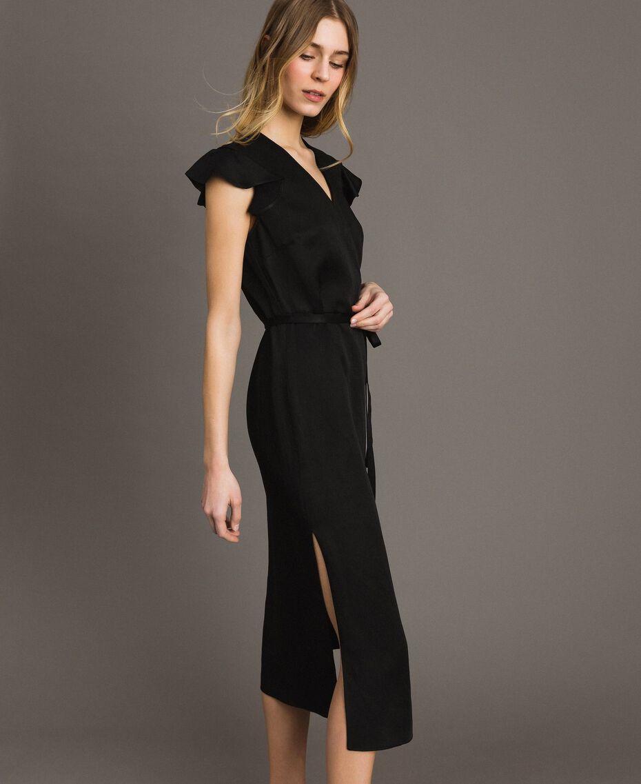 Robe longue en lin envers satin Noir Femme 191TT2303-02