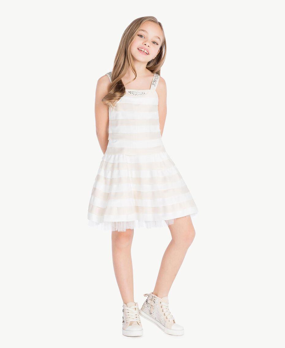 Kleid mit Strass Zweifarbig Chantilly / Papyrusweiß Kind GS8LBA-02