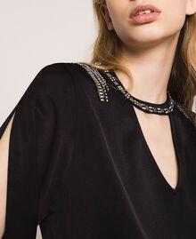 Blouse avec franges brodées Noir Femme 201TP2283-05