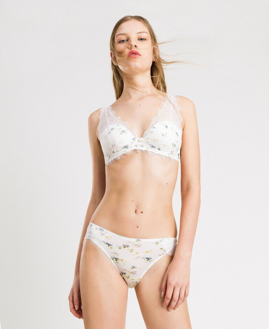 Floral briefs with lace Ivory Mini Flowers Print Woman 191LL6A66-0S