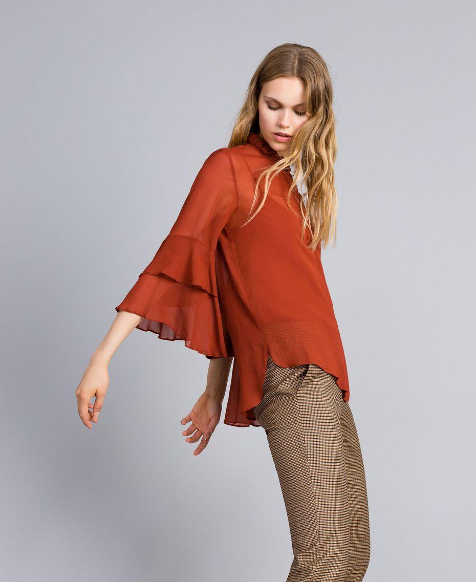Bluse aus Georgette mit Rüschen Rotbraun Frau TA828A-02