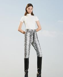 Animal print faux leather trousers Walnut / Tobacco Snakeskin Print Woman 202TT2225-01