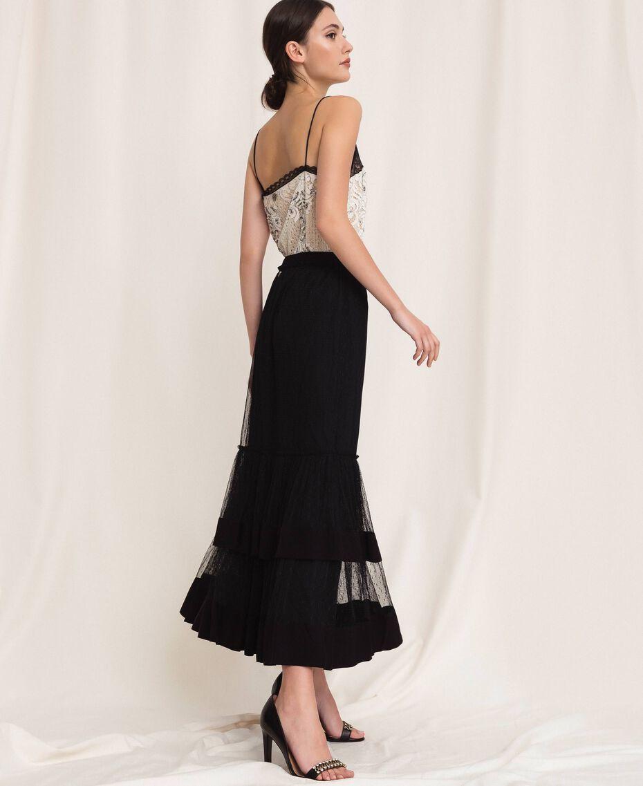 Crêpe de Chine skirt with plumetis tulle Black Woman 201TP2372-01