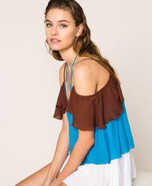"Colour block georgette top with flounces Multicolour ""Bay"" Blue / ""Choco"" Brown / Optical White Woman 201LM2HHH-01"