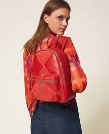 Faux leather backpack Cherry Red Woman 202MA7021-0S