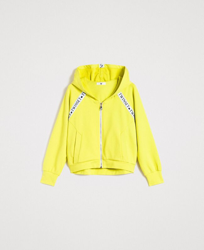 "Fleece jacket with inserts and logo ""Lemon Juice"" Yellow Woman 191LL28CC-0S"