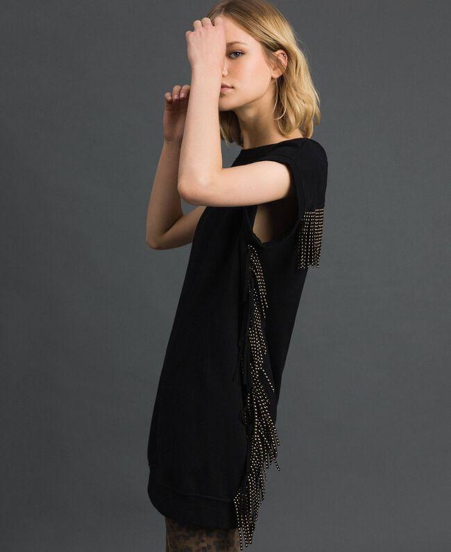 Maxi sweat avec franges et petits clous Noir Femme 192MP2231-01