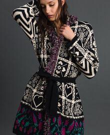 """Jacquard knit coat with fringes """"Snow"""" White Jacquard/ Black Woman 192TT3161-04"""