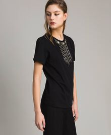 Embroidery and fringe T-shirt Black Woman 191TT2204-02