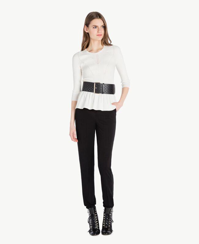 Pullover mit Streifen Helles Elfenbein Frau PS8395-05