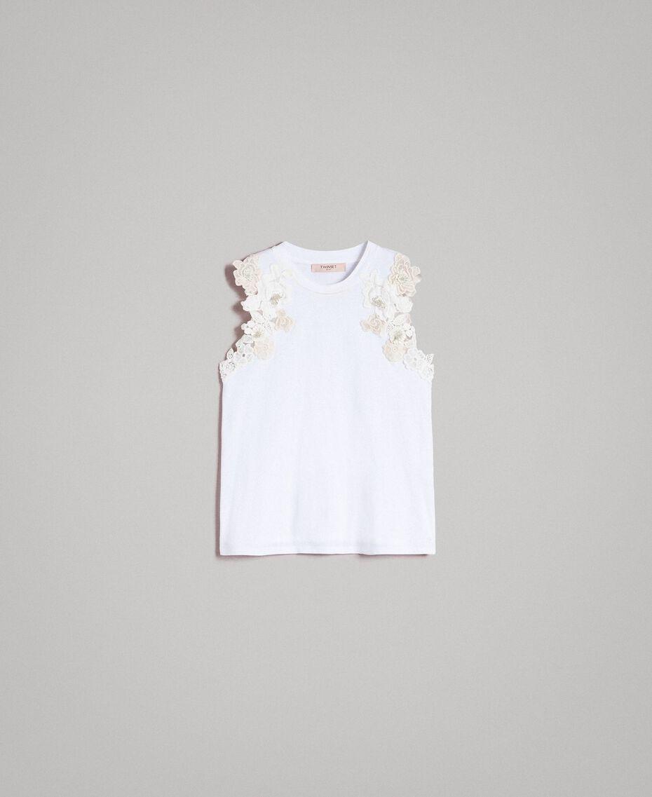 Trägerhemd mit Blumenapplikation Weiß Frau 191TT2201-0S