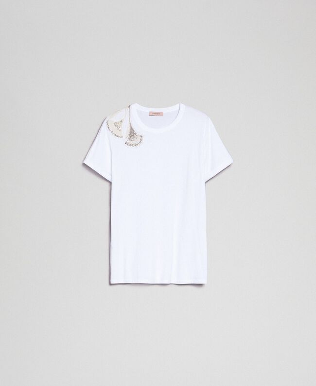 T-shirt avec broderie florale de strass et de sequins Blanc Femme 192TP2715-0S