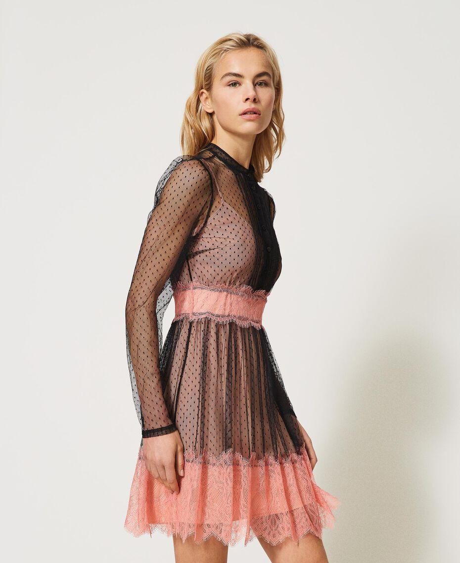 Robe en tulle et dentelle Bicolore Noir / Rose «Pêche Blossom» Femme 202TP2201-01