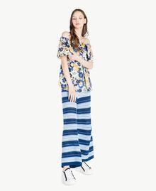 Bluse mit Print Flacher Blumenprint Placid Blue Frau SS82PB-05