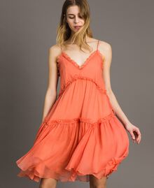 """Robe en soie avec volants Rouge """"Pomme Sauvage"""" Femme 191TT2422-01"""