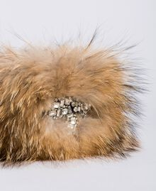 Fur collar with rhinestone bow Camel Woman AA8P9R-02