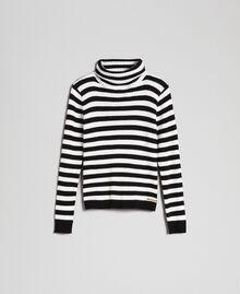 Pull col roulé côtelé avec rayures Jacquard Rayures Blanc Cassé / Noir Enfant 192GJ3170-0S