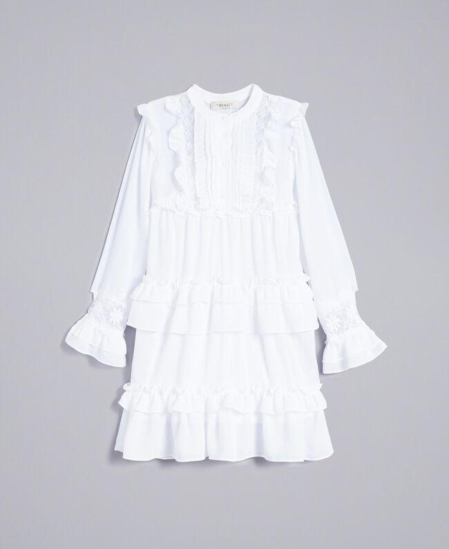 Robe volantée en crêpe georgette Off White Enfant GA82HA-01