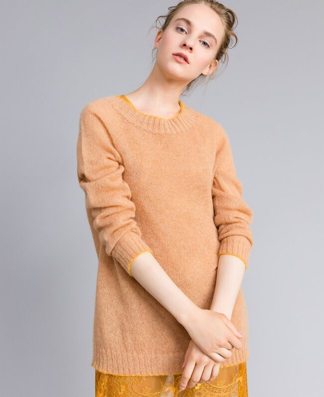Maxi mohair jumper with lace top Bicolour Camel / Brandy Woman PA836B-01