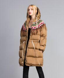 Piumino lungo con inserto in maglia Camel Donna QA8TED-05