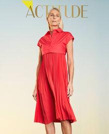 """Irena"" poplin long dress with pleats ""Coral Kiss"" Red Woman 211MT2092-01"