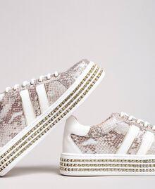 Baskets en cuir ornés de strass Imprimé Python Blanc Glace Femme 191TCP170-05