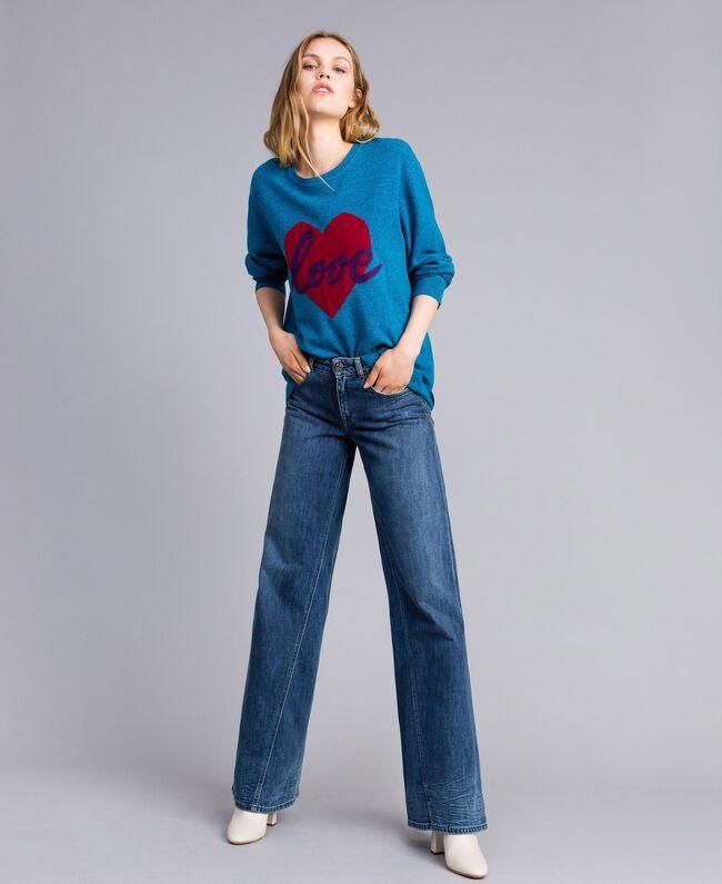 Maxi maglia in misto lana con cuore Ricamo Blu Ottanio Agugliato Donna TA83JF-04