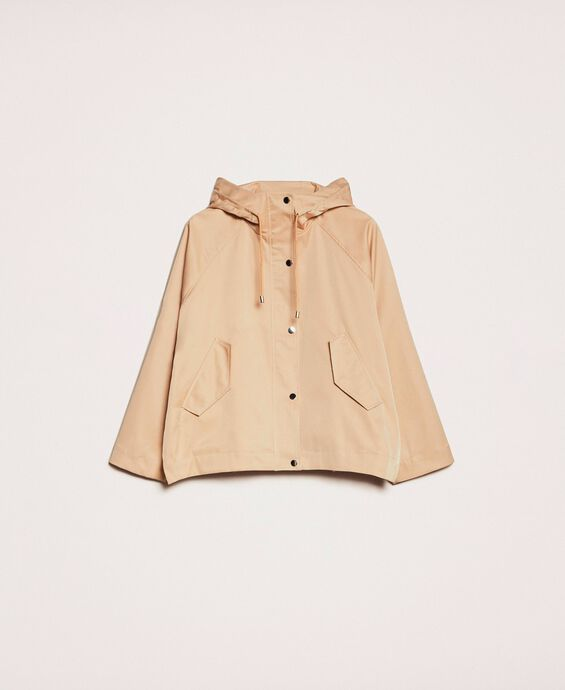 Jacket with laminated faux leather details