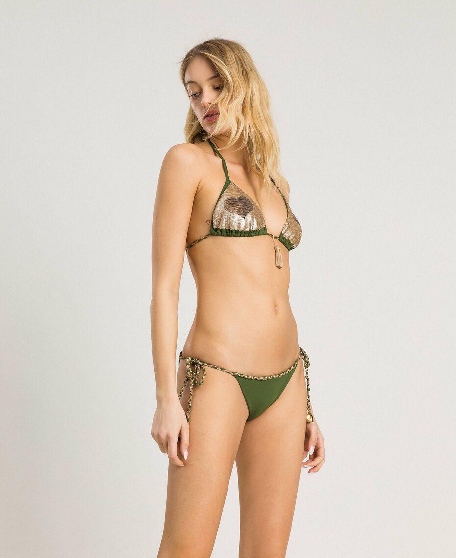 Bas de bikini tanga avec lacets torsadés Vert Amazone Femme 191LMMC88-0S