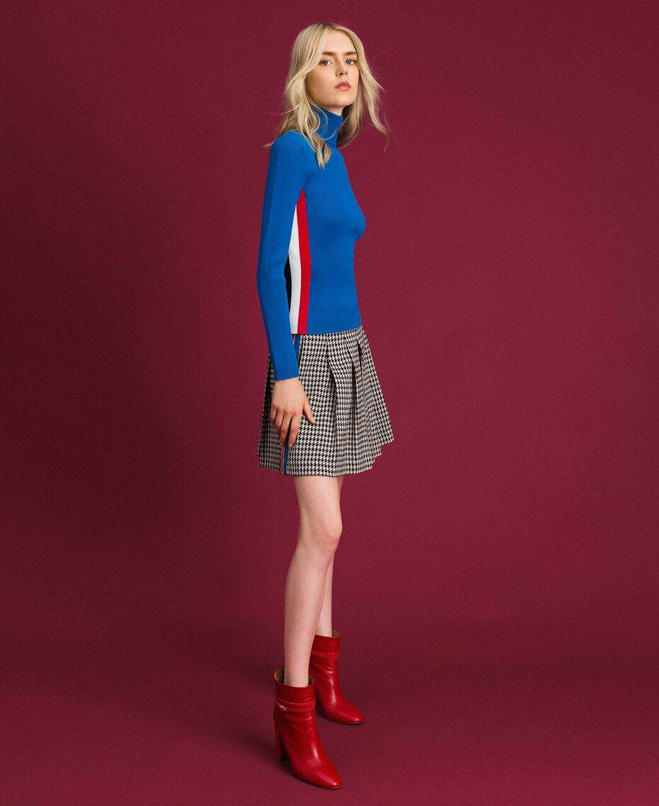 Ribbed turtleneck with colour block bands Curaçao Blue Woman 192MT3010-02