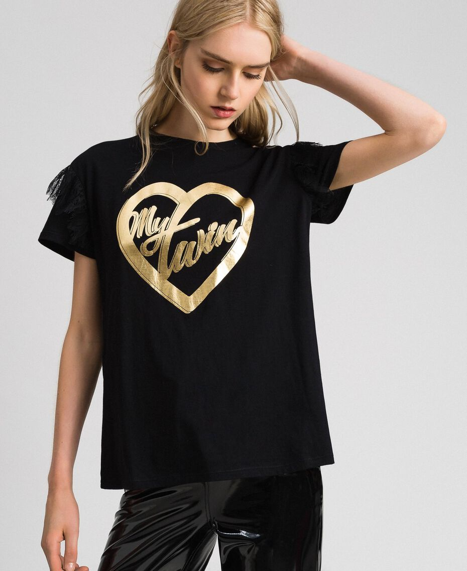 T-shirt with golden print and lace Black Woman 192MP2430-02