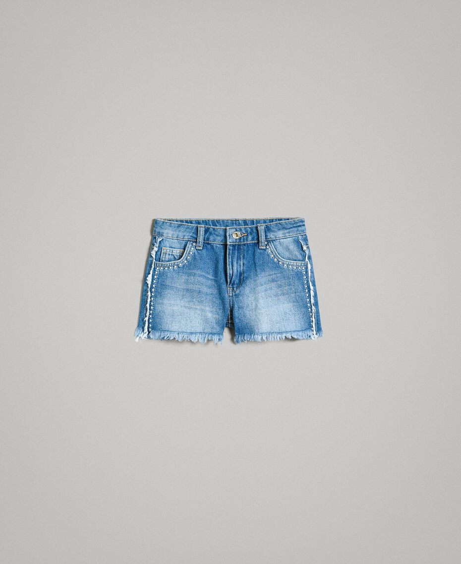 """Short en denim avec broderie Bleu """"Denim Moyen"""" Enfant 191GJ2481-01"""