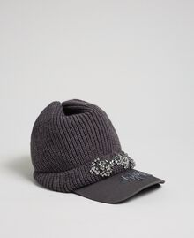 Knit beret with embroidered visor Medium Gray Mélange Woman 192MA4352-01