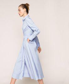 Long poplin shirt dress Sky Blue Woman 201MP218C-02