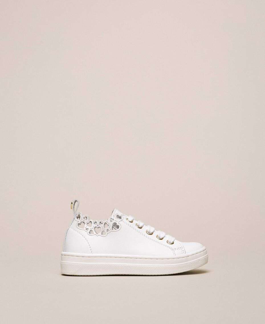 Nappa leather trainers with embroidery White Child 201GCB070-02