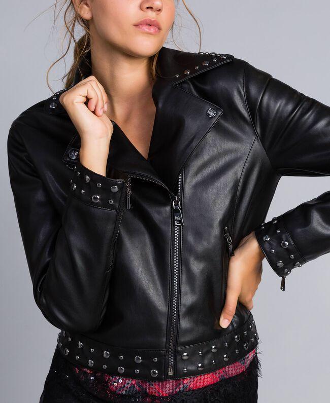 Jacke aus Lederimitat mit Nieten Schwarz Frau YA82BF-01