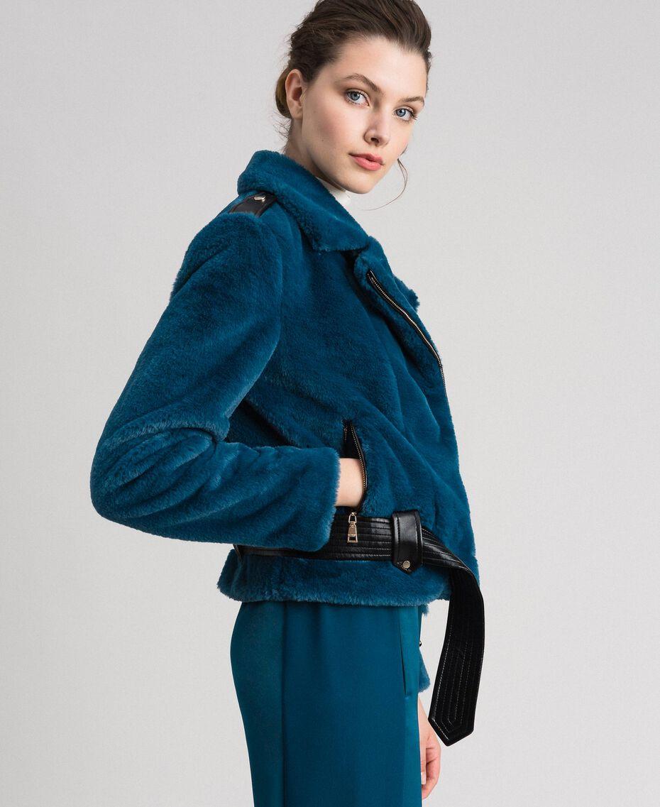 "Giacca chiodo in similpelliccia Blu ""Lake"" Donna 192MP2043-01"