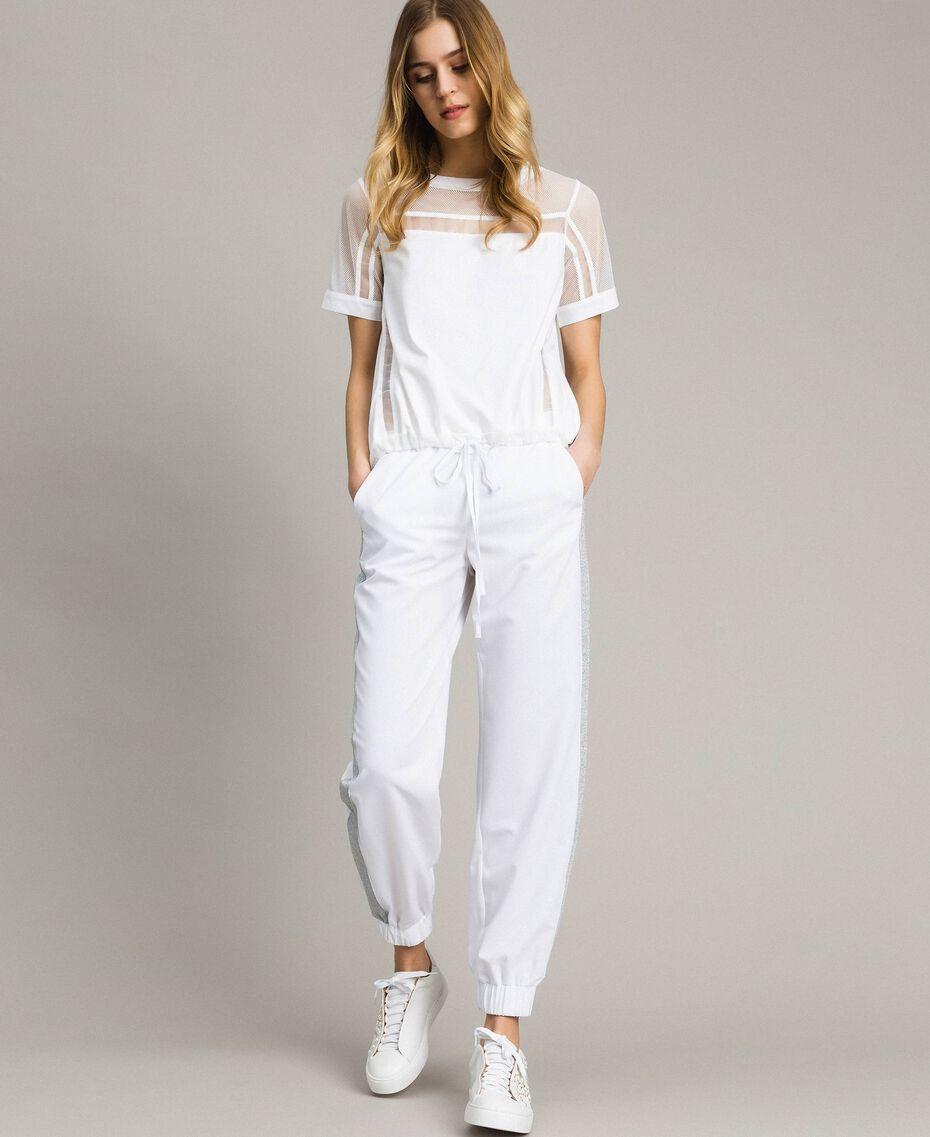 Pantalones de jogging con paneles de lúrex Blanco Mujer 191LL25KK-02