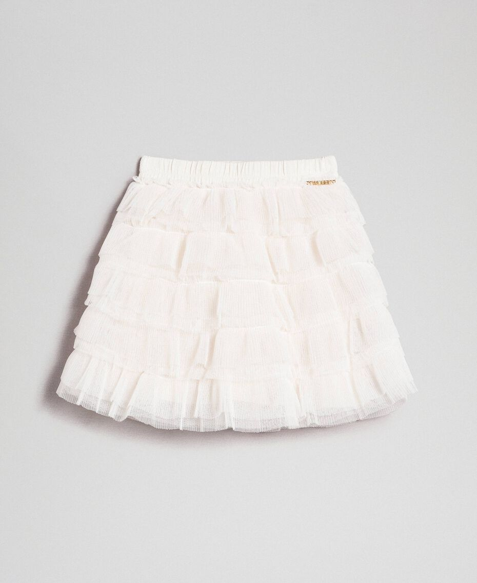 Pleated flounce tulle skirt Pale Cream Child 192GB2110-01