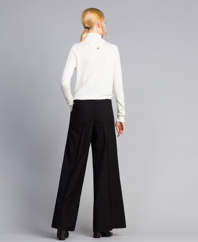 Twill palazzo trousers Black Woman SA82KE-03