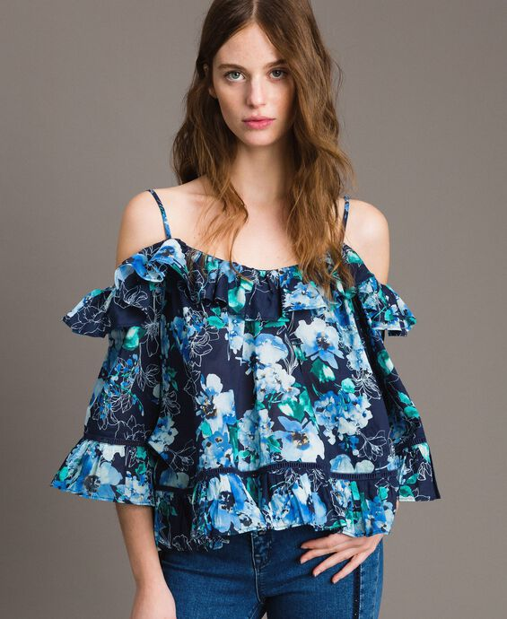 Floral print blouse with flounce