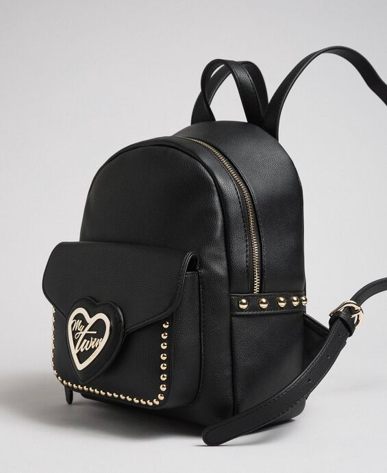 Two-tone faux leather backpack with studs