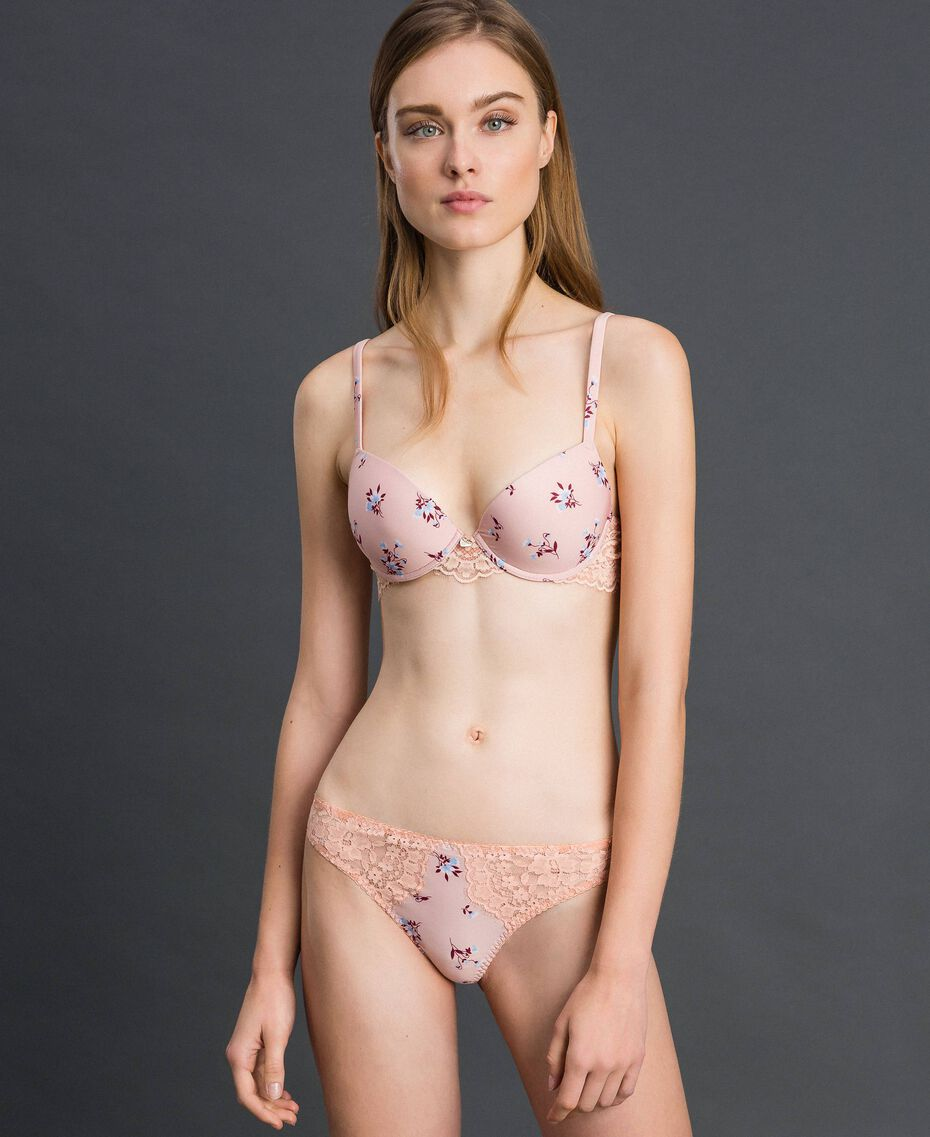 "Floral print G-string with lace ""Peach"" Pink Tiny Flower Print Woman 192LL6K88-02"