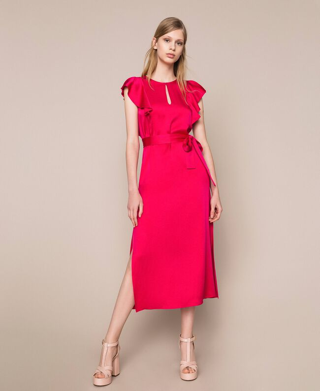 Long dress with frilled sleeves Black Cherry Woman 201TP2284-01