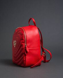 Faux leather backpack with quilted hearts Poppy Red Woman 192MA7082-02