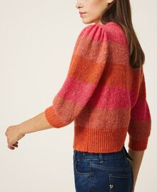 Pull en mohair mélangé rayé Multicolore Gerbera / Tawny Orange / Rose Brillant Femme 202MT3160-04