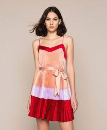 "Pleated satin slip dress Multicolour ""Lava"" Red / ""Ballerina"" Purple / Nude Pink Woman 201TP2311-01"
