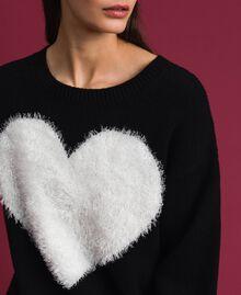 Cardigan-Pullover mit Herz Zweifarbig Schwarz / Schneeweiß Frau 192TP3320-04